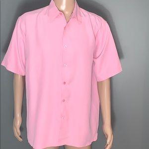 Domani Mens Pink Casual Button Down T-shirt SZ.L